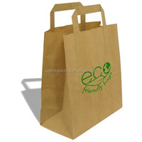 Flat Handle with High Qulity Brown Karft paper bag