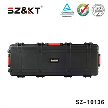 waterproof shockproof airtight hard plastic military gun case with wheels