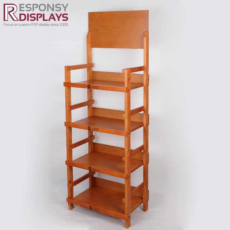 Promotion Four Layers Floor Standing Retail Store Wooden Display For supermarket and store