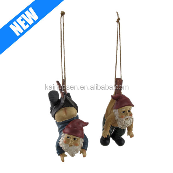 customized resin garden decorative hanging gnome,Set of 2