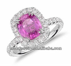 Jewelry websites Cushion Pink Sapphire and Micropave Diamond Halo Ring in 18k White Gold (2.37 cts)