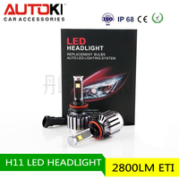 AUTOKI Super bright 2800lm ETI chips car led headlight H11 motorcycle led headlight