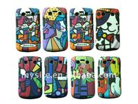Cell Phone Silicon+PC Hard Combo Case Covers for BlackBerry Curve 9300 with IMD Decal design
