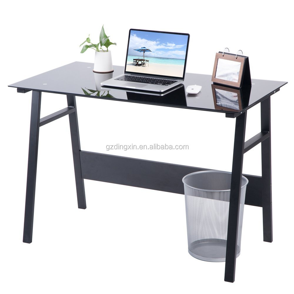 Home Office Desk Compact Black Glass Computer Workstation Table Study Laptop Desktop Table