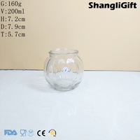 Clear Glass 200ml Pumpkin Candle Jar With Wire Handle