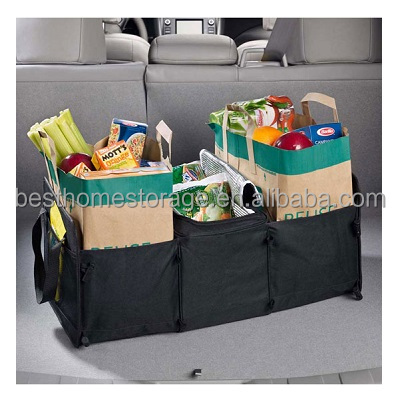 Foldable Oxford Fabric Car Storage Cooler Box Organizer,3 Compartment,(Black)