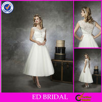 EW24 Elegant Sleeveless Lace Back Vintage Tea Length Wedding Dresses