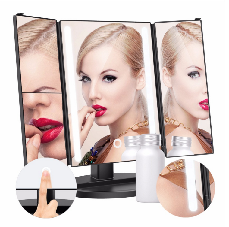 New Tri fold Lighted Makeup Mirror with 24 LED Lights Fold Magnification Vanity Mirror Customize logo