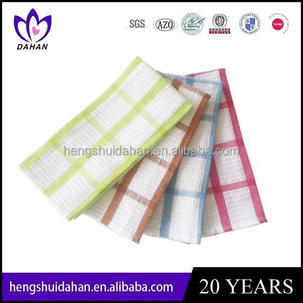 latest design cotton fabric yarn dyed tea towell promotion classic gird kitchen cloth China supplier wholesaler