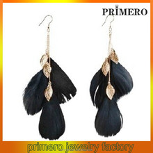 PRIMERO 18CM 2015 wholesale cheap ladies Cheap Feather Earrings black Rooster Feather Earrings