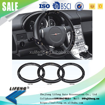 2016 New promotional hot selling Four Seasons PVC Microfiber fabric cheap car 15B138 steering wheel cover