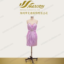 Lace and satin lilac beaded strapless pleated bodycon hong kong dress wholesale
