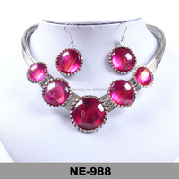 customize colorful big diamond imitation jewellery collar necklace and pendant earring set