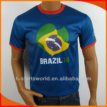 customized 2014 Brazil world cup sublimation printing t-shirt for men