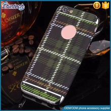 Customized design grid fabric case plastic mobile phone cover for iphone 6s plus