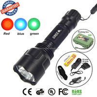Wholesale C8 LED Flashlight Blue + Red + Green Light Torch led torch flashlight torch light + 1x18650 Rechargeable battery/