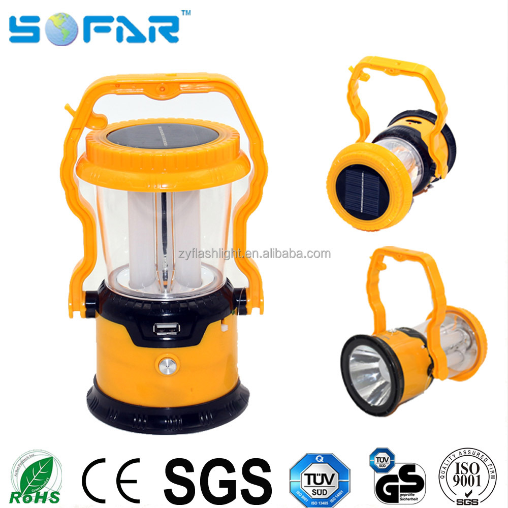 Portable LED camping light ABS USB rechargeable solar camping lantern with mobile charger