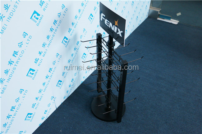 Metal counter stand for hanging items double-side 3 tiers desktop standing display rack with hooks
