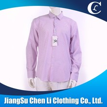 Hot sale 100% cotton casual men long sleeve Pink Stripes shirt