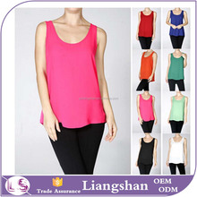 OEM Wholesale Basic Ladies Tank Top Women Chiffon Blouse Sleeveless Scoop Neck Swing Woven Cami Vest Shirt Tank Top
