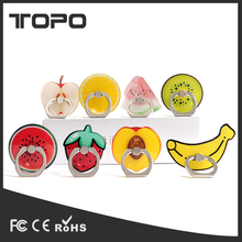 Pop sucker silicone cute fruit patter printed finger cell phone ring holder universal for smart phone
