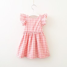 Summer New <strong>Girl</strong> Bow-Tie Plaid <strong>Dress</strong> Flying Sleeve Princess Skirt Pleated <strong>Dress</strong>
