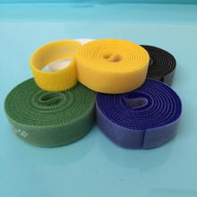 black yellow green blue white back to back hook loop Fastening Tape Strip Cable Straps Tie Roll