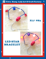 4th of July four led light-up star beads bracelet