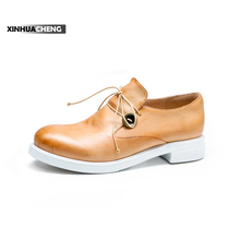New leather Korean female student flats white spring pump shoes