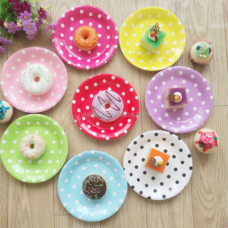 DEMIZXX1021 Wholesale Custom Polka Dot Pattern Different Color Paper Material Free Shipping Round Shape Fashion Party Plates