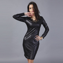 ZH0149L Big sale cheap fancy women slim OL tight leather hip dress