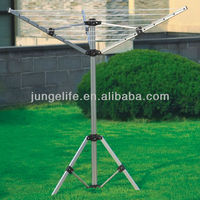 3 arms aluminum camping rotary clothes airer with three legs