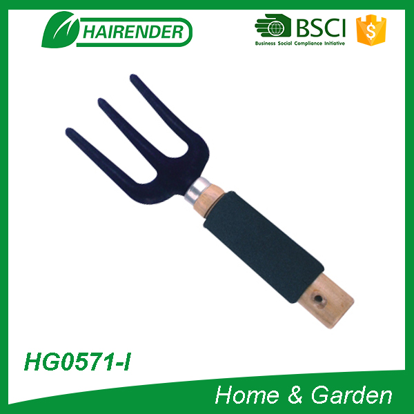 farm tool farming hand fork floral planting fork with wooden handle