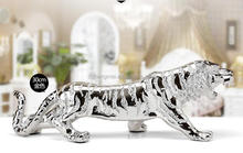 europ style silver plated resin tiger statue