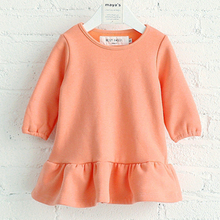 Hot sale pure toddler dress girls long sleeves ruffled dress