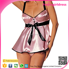 Plus Size Lady Sexy Pink Strapped Bow Lace Babydoll 2015