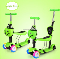 Baby Mirco mini scooter with seat and pusher/Multi-function 3 in 1 kids pedal scooter Baby foot scooter