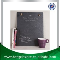Factory Direct Sales Handmade Hanging Natural Edge 40*20*0.5cm Rectangle Laser Engraved Family Decorative Slate Blackboard