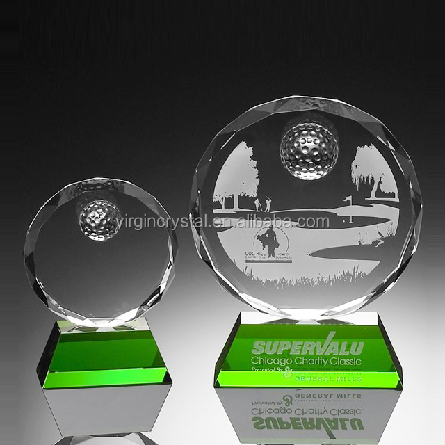 Wholesale Crystal Golf Ball On laser engraved Logo Pringting Green Rectangle Stand Sport Trophy awards plaque
