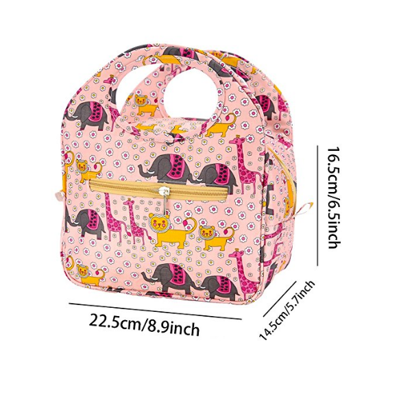 Lunch tote Bag Waterproof Reusable with Adorable Animal Image Insulated Lunch Bags for Women Ladies Girls