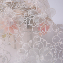 white 3d flowers lace embroidery bridal fabric