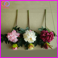 2 heads wedding artificial single peony flower stocking flower material