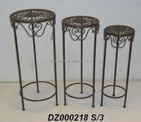 Antique Metal Garden Plant Stand S/3 For Sale