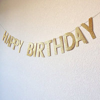 GBJ-175 Gold Happy Birthday Letter Banners Birthday Party Decoration Glitter Paper Bunting Banner