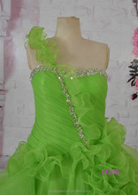 Real photo green one shoulder puffy plus size organza wedding dress