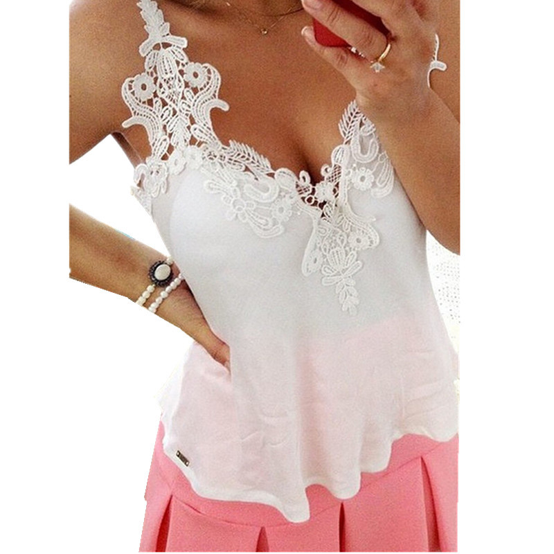 2015 Plus Size Womens Clothing XL XXL 3XL 4XL 5XL New Brand Casual Lace Crop Top Ladies Lace Vest Tops Basic Strap Vest
