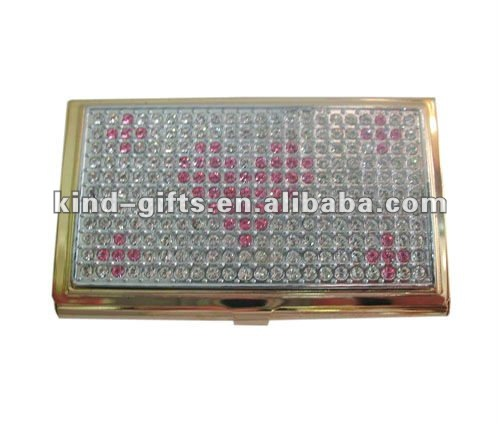 Custom Logo And Fashion Name Card| Metal Name Card Holder With Rhinestone |Crystal Bling Decoration