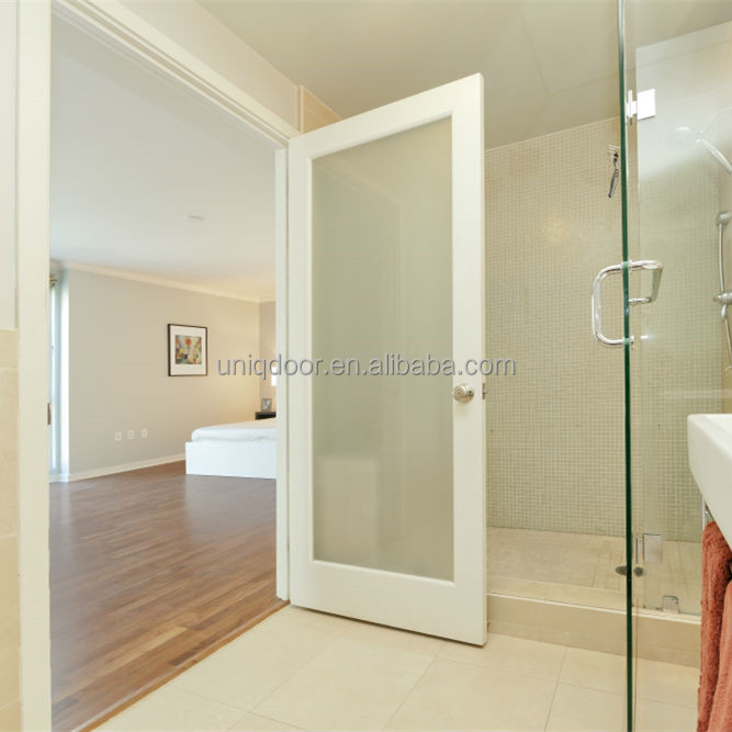 Uniqdoor bathroom white color solid wood single panel glass insert french door