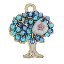 Charm Pendants Tree Light Golden White & Pink Polymer Clay Flower Carved Blue Rhinestone 21mm x 17mm