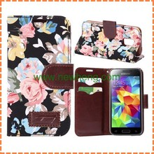 Flower Design Leather Wallet Case For Samsung Galaxy S5 Mini